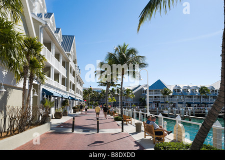 Benches on the quayside looking towards Mallory Square, Cruise Terminal, Key West, Florida Keys, USA - Stock Photo