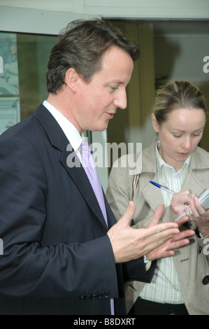 Conservative MP David Cameron talks to reporters during his campaign for leadership of the Party. - Stock Photo