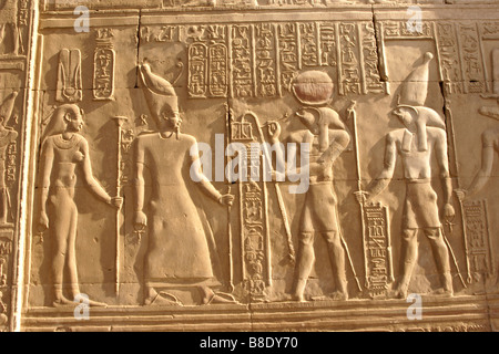 Reliefs and hieroglyphics at Kom Ombo Temple, Egypt (two brothers, god Horus, before Ptolemy VIII and his wife, - Stock Photo