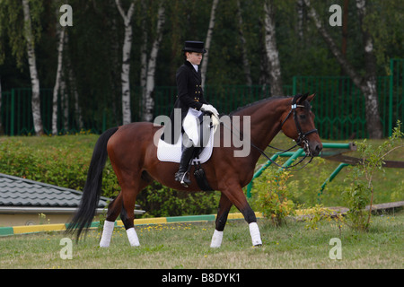 Woman in dressage costume with horse - Stock Photo