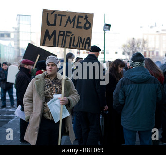 Demonstrations against banking system and Government, Reykjavik Iceland - Stock Photo