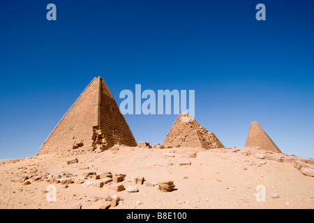 pyramids of karima sudan - Stock Photo