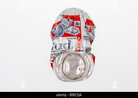 clip image flattened beer aluminium can brand budweiser company anheuser busch usa editorial use only - Stock Photo