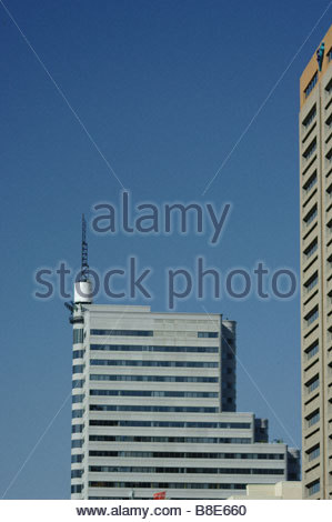 Cape Town South Africa modern high rise office buildings blue sky aerial antenna - Stock Photo