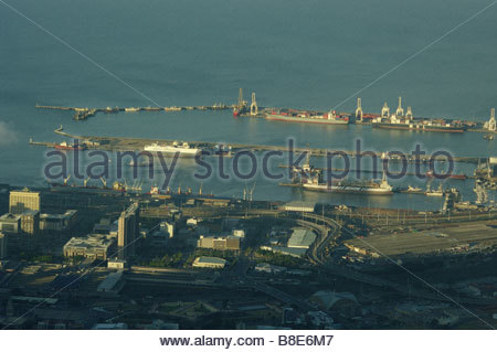 Cape Town South Africa Port Harbor aerial view coast coastal travel dock docks ships boats Harbour - Stock Photo