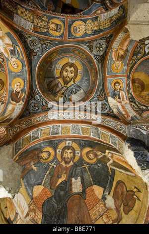 Christian Murals Inside Karanlik Kilise Cave Church at the Open Air Museum in Cappadocia Turkey - Stock Photo
