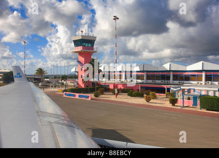 Control Tower at Flamingo International Airport Kralendijk Bonaire Island Netherlands Antilles Caribbean - Stock Photo