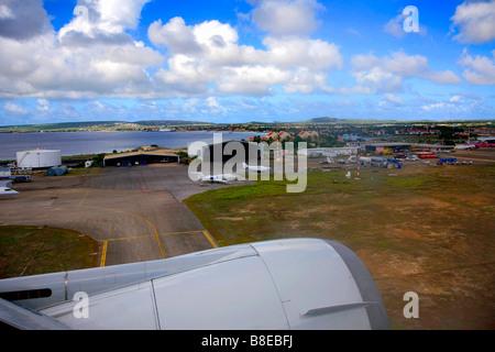 Bonaire from KLM McDonald Douglas MD-11 Aeroplane window Flamingo International Airport Kralendijk Netherland Antilles - Stock Photo