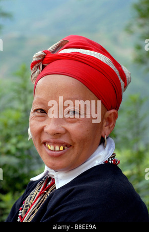 Woman from Red Dao tribe Sapa North West Vietnam - Stock Photo