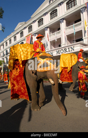 Imperial ceremony with elephants  in the city of Hue in front of Saigon Morin Hotel - Stock Photo
