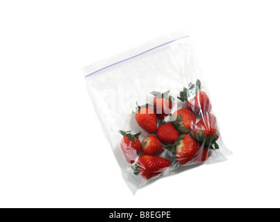 Clear Plastic Bag of Organic Red Strawberries - Stock Photo
