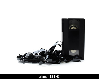 Destroyed VHS Video tape - Stock Photo