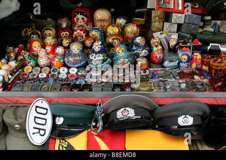 Stall with souvenirs at Checkpoint Charlie, Berlin, Germany - Stock Photo