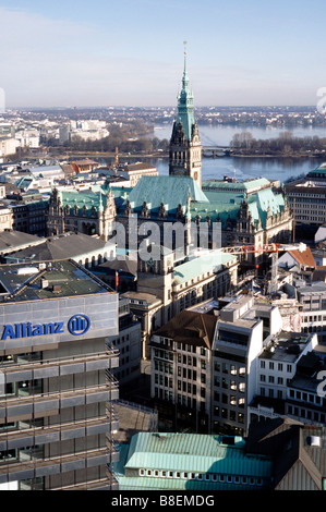 Feb 18, 2009 - Aerial view of Rathaus (city hall) and Binnenalster (Inner Alster) in the German city of Hamburg. - Stock Photo