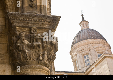 Asklepios Capital of Rectors Palace and Cathedral of Assumption of Virgin Dubrovnik Dalmatia Croatia Europe - Stock Photo
