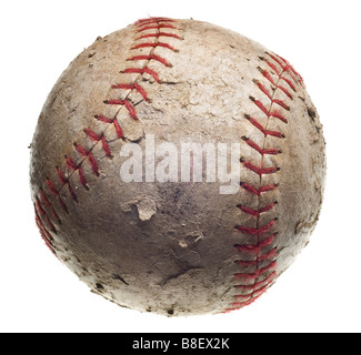 with red stitching baseball isolated on white background - Stock Photo