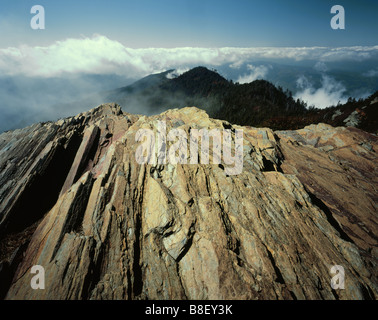 TENNESSEE - Exposed bedrock at Cliff Tops in Great Smoky Mountains National Park. - Stock Photo