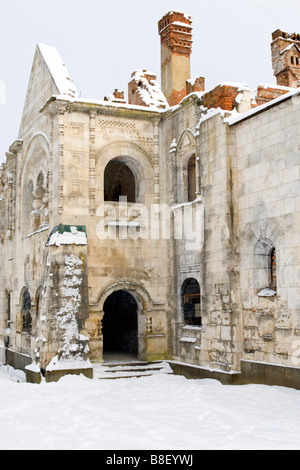 Old destroyed monastery without roof over blue sky. - Stock Photo