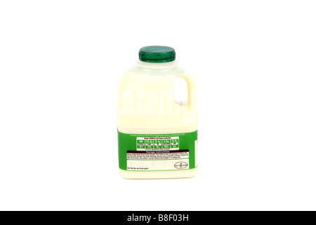 One Pint of semi skimmed milk in a plastic container showing the nutrient values on the label - Stock Photo