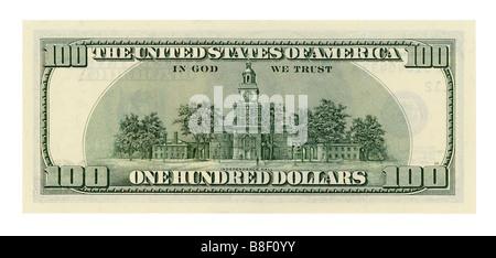 One hundred dollar bill isolated on white background. NATIVE SIZE, NOT UPSCALED. - Stock Photo