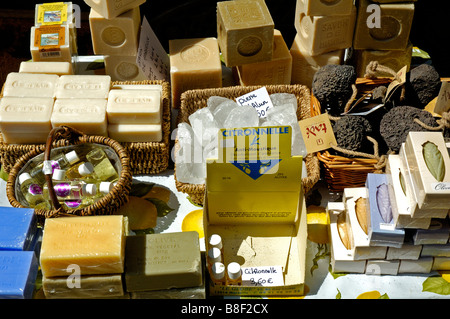 Soap and toiletries for sale, Orange, Provence, France. - Stock Photo