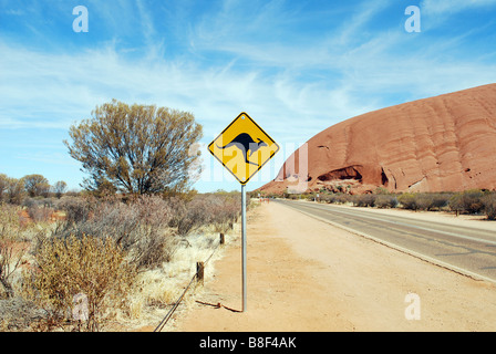 Kangaroo sign at Uluru, Northern Territory, Australia - Stock Photo