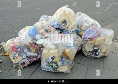 Bag of rubbish some of which could be recycled destined for landfill London England UK - Stock Photo