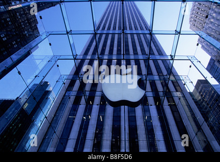 USA New York City The Apple Store Interior With View of The General Motors Building Through Window - Stock Photo