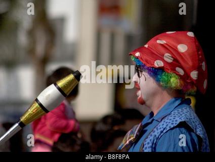 Clown juggler on the parade route Lunar New Year Parade Pasadena California 2006 - Stock Photo