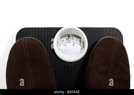Slippers on Bathroom Scale Weighing - Stock Photo