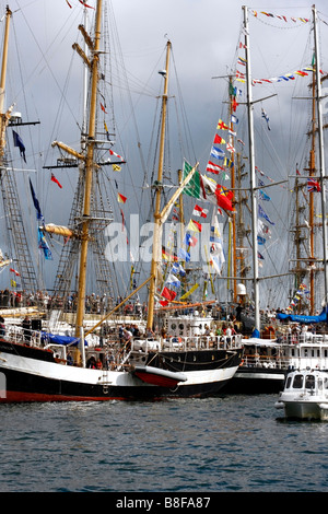 Tall Ships in Falmouth are dressed overall for the Falmouth feeder race to Portugal for the Funchal 500 Tall Ships - Stock Photo