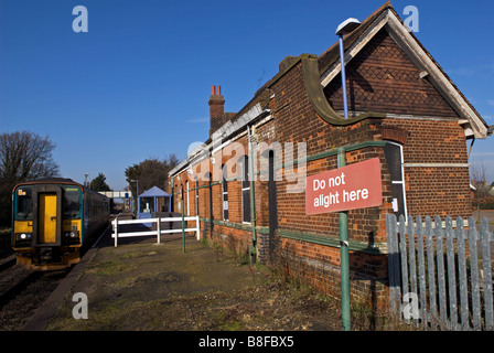 Trimley railway station on the Ipswich to Felixstowe branch line, Suffolk, UK. - Stock Photo