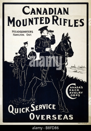 Photo of an original Canadian Army World War One recruiting poster for the Mounties published between 1914 and 1918 - Stock Photo