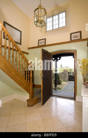 Open Front Door From Inside entrance hall with open front door stock photo, royalty free image