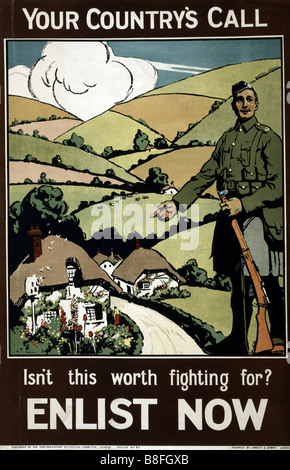 """World War One British recruiting and propaganda poster urging men to """"Enlist Now"""". - Stock Photo"""