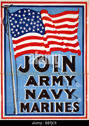 Photo of an original World War One US Armed Forces recruiting poster published in 1917 - Stock Photo