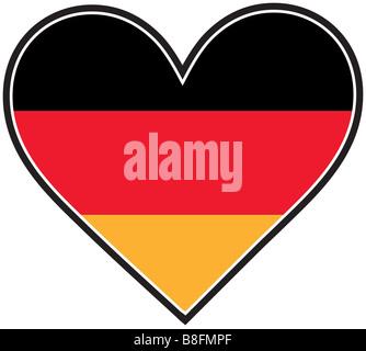 A German flag shaped like a heart - Stock Photo