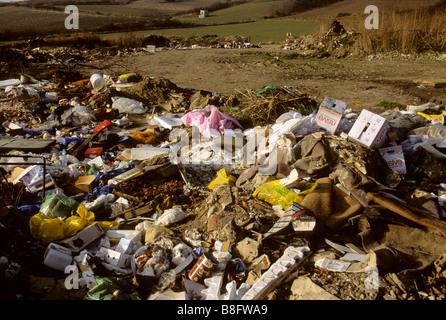 Rubbish tip / landfill waste site - Stock Photo