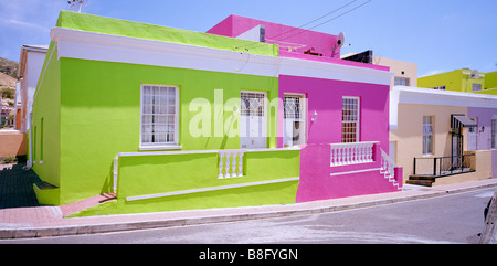 Colourful housing in Bo Kaap in Cape Town in South Africa in Sub Saharan Africa. Color Colour House Vivid Houses - Stock Photo