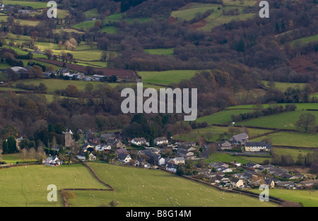 View over village of Llanbedr in the Vale of Grwyney Powys Wales UK - Stock Photo