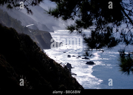 Rough Ocean off Pacific Coast Highway by BIG SUR, California, USA - Stock Photo