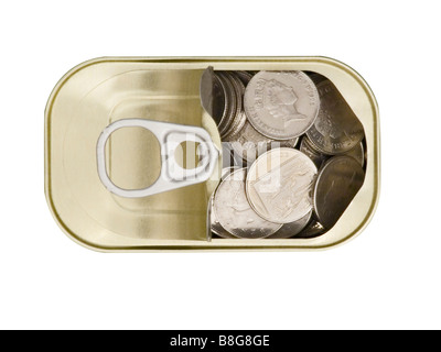 Ring Pull Tin Can containing Ten pence pieces on white background cutout - Stock Photo