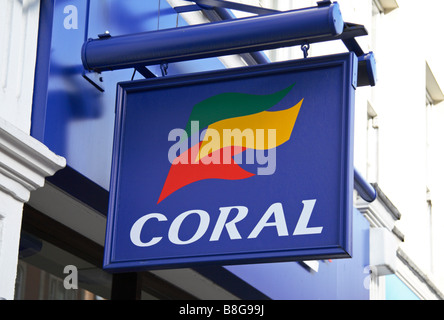 A sign above the Corals bookmakers on Sloane Street, London. Feb 2009 - Stock Photo