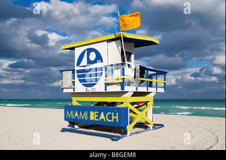 Lifeguard Hut on South Beach, Miami Beach, Gold Coast, Florida, USA - Stock Photo