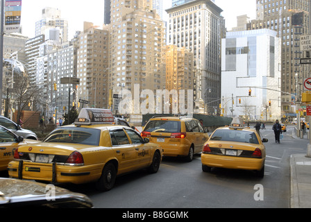 The Museum of Arts and Design right is seen in Columbus Circle - Stock Photo