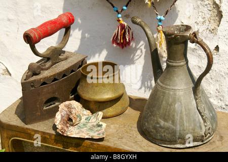 Antique iron, pitcher, and pot, Turkey - Stock Photo