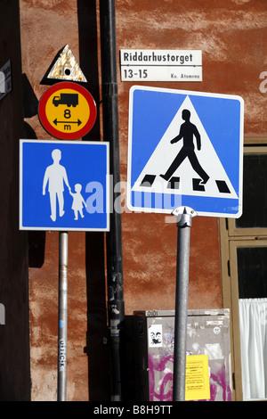 Traffic signs, Stockholm, Sweden - Stock Photo