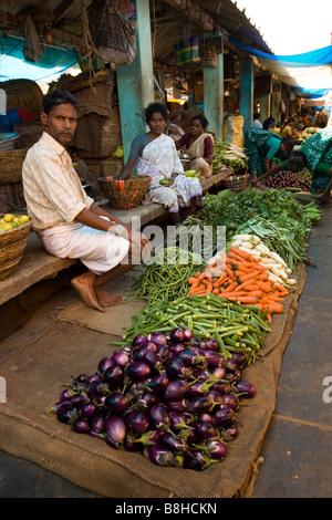 India Pondicherry Main Market stalls selling fresh locally grown vegetables - Stock Photo