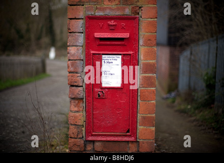 A Royal Mail post box in a rural setting Worcestershire England UK - Stock Photo