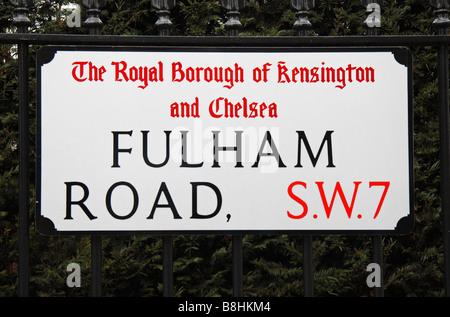 Street sign for Fulham Road, Kensington & Chelsea, London.  Feb 2009 - Stock Photo